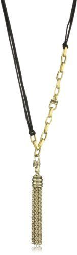 "Paige Novick Black Leather ""Buenos Aires"" Detachable Tassel Necklace Paige Novick. $322.00. The tassel is adorned with Swarovski crystal. This piece is really two-in-one, as the tassel is detachable. This necklace is proudly handmade in Manhattan. Made in United States"