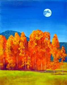 Autumn Landscape with Full Moon Original Oil Painting by Marina Petro, painting by artist Marina Petro