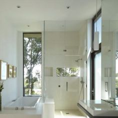 Modern bathrooms can be light and inviting. From http://www.houzz.com/pro/griffinenright/griffin-enright-architects
