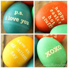 use stickers or vinyl to put messages on eggs!