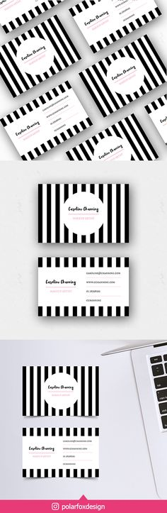 Need to brand your new business? Of course you want to stand out in the crowd! I'm here to help you with my unique pre-made business cards. This elegant business card with a black striped background is perfect for your blog branding, creative business or a bakery. #businesscard #printdesign #branddesign #branding #corporateidentity #printable #template #etsy #etsyshop Elegant Business Cards, Striped Background, Social Media Template, Corporate Identity, Creative Business, Brand You, Crowd, Print Design, Branding Design
