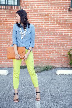 blue chambray shirt green pants & necklace nude heels OR with coral pants and necklace