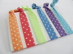 Set Of 6 Hair Ties Bright Color Polka Dot by SouthernStitchesCo, $5.60