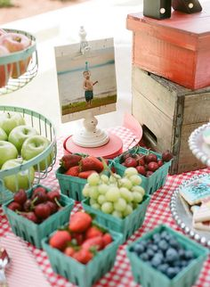Berry Filled Berry Baskets from a Vintage County Fair + Carnival 1st Birthday Party via Kara's Party Ideas | KarasPartyIdeas.com (26)