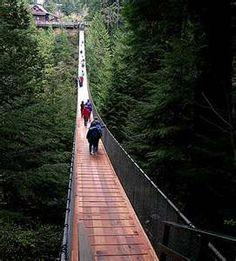 Crossed the Capilano Suspension Bridge. Canada Cup 1993. Vancouver, British Columbia, Canada.