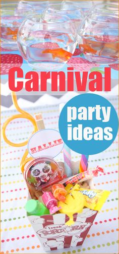 Carnival Party Ideas.  Creative DIY carnival games, activities, decor, food and favors.  Great ideas for boy or girl birthday parties, or school events.