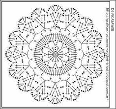 Gráfica para um motivo de rosácea em crochê