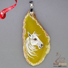 HAND PAINTED HORSE AGATE SLICE GEMSTONE DIY NECKLACE PENDANT ZZ60 00338