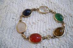 Vintage Jewelry Bracelet Collectible Link Six Scarab Bracelet