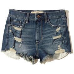 Hollister High-Rise Vintage Shorts ($45) ❤ liked on Polyvore featuring shorts, ripped medium wash, high-waisted jean shorts, destroyed denim shorts, high rise jean shorts, frayed jean shorts and high waisted jean shorts