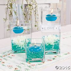 Teal Floating Candles