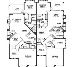 Multi-Family Plan 58965 - One-Story, Tudor Style Multi-Family Plan with 3465 Sq Ft, 2 Bed, 2 Bath, 2 Car Garage Family House Plans, Best House Plans, Country House Plans, Small House Plans, Duplex Floor Plans, House Floor Plans, Duplex Design, House Design, Multi Family Homes