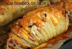 #Patatas #Hasselback con bacon y queso