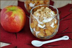An easy and absolutely delicious parfait, perfect for the Fall. Made with apples, brown sugar, cinnamon, and homemade whipped cream. Ready in 20 minutes, but it'll never take that long to eat!