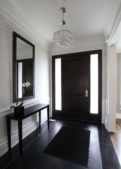 Black front door on the inside and out. black front door on the inside and out foyer furniture Black Entry Doors, Front Door Entryway, Black Interior Doors, Interior And Exterior, Front Door Decor, Entrance Table Decor, Entryway Decor, Hallway Decorating, Entry Tables