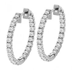 2.50 CT TW Inside/Outside Round Diamond Hoops in 14k White Gold from V.I.P. Jewelry Inc. at the XYS Online