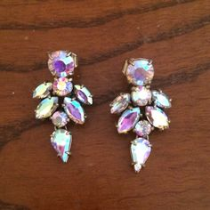 "NEW J. Crew Iridescent Crystal Drop Earrings Gorgeous earrings bought last winter and never worn. 1.5"" long. Please feel free to use the offer button! J. Crew Jewelry Earrings"