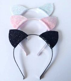 Get ready for Halloween with these fab and most sparkly cat ears. Flash Floozy handmade glitter headband. Home of boho and fashion headwear #halloween #fancydress #catwoman