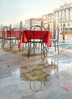Rosso Veneziano: I've been painting Venice watercolors for many years now!  Every year, I take adult painting students with me.  I rent an apartment for 2 or 3 weeks, always