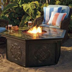 Warm your outdoor conversation area with flickering firelight from Frontgate's Villa Custom Gas Fire Table.