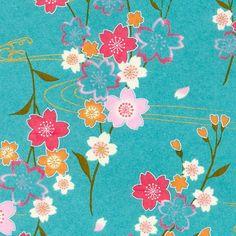Papier Japonais / Sérigraphie fleurs de cerisiers, rose, orange, blanc, or, vert, sur fond bleu turquoise - Adeline Klam