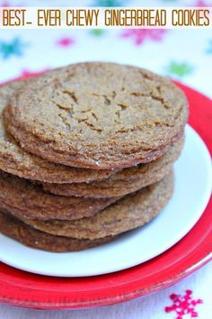 Best-Ever Chewy Gingerbread Cookies Recipe Ginger Bread Cookies Recipe, Yummy Cookies, Ginger Cookies, Almond Cookies, Chocolate Cookies, Chocolate Art, Holiday Baking, Christmas Baking, Christmas Cookies
