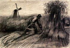 Wheatfield with Reaper and Peasant Woman Binding Sheaves - Vincent van Gogh