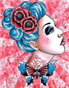 89569092a6c Tattoo Art Butterfly Gypsy Pin Up Punk Rock by NeverDieArt Rock Tattoo