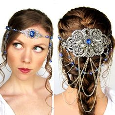 Fairy Headdress in Blue and Silver by BeasleysWonders on Etsy, $200.00 arwen, Halloween costume, wedding circlet, princess crown