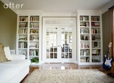 bookcases around French doors. Yes! Doing this in my master