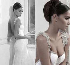 2014 New Backless Beaded Lace Mermaid Inbal Dror Wedding Dresses Bridal Gown
