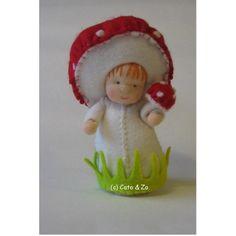Sweet little mushroom girl. Needle Felted Animals, Felt Animals, Needle Felting, Nature Table, Craft Night, Waldorf Dolls, Aberdeen, Soft Dolls, Doll Toys