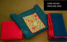 Semi stitched Salwar set (SIZE UPTO 44)(CODE:JN7105)Material - Top -Pintuck Chanderi silk bottom-2.25m cotton silk Dupatta-NetSTATUS:SOLD  09 March 2017