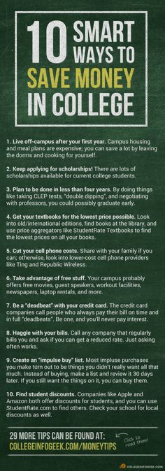 A list of 10 great ways to cut the cost of #college! 29 more in the blog post.