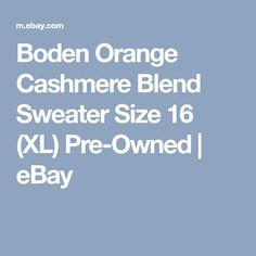 Boden Orange Cashmere Blend Sweater Size 16 (XL) Pre-Owned   eBay