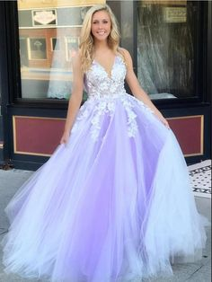 Charming V-neck Appliques Tulle Long Prom Dress with Open Back T1755
