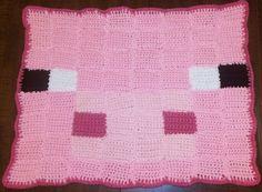 Minecraft Pig Crochet Rug - Made to Order. $20.00, via Etsy.