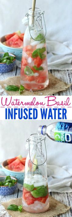 Need to drink more water? This Watermelon Basil Infused Water is so refreshing, and hydrates you with natural electrolytes when made with Kona Deep. #RethinkYourWater #FitFluential