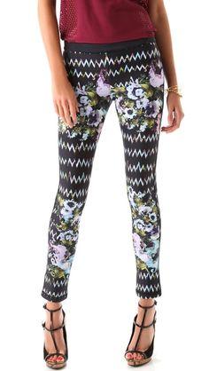 Cynthia Rowley Zigzag Floral Bonded Leggings Neoprene