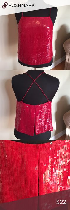 Valentine's Sequin Halter Open Back Top  NWOT Perfect For Valentines Day. Purchased at Macy's. NWOT Size 6P . Back can be adjustable or wear all three snaps closed Straps also are adjustable wear over jeans, Skirts . Perfect with anything. No missing Sequins. Please ask all questions questions prior to buying inc Tops Camisoles