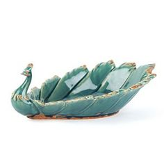Add a decorative flourish to your table with our teal ceramic peacock bowl. Featuring a unique peacock design, this ceramic bowl is a must-have! Peacock Colors, Peacock Art, Pottery Bowls, Ceramic Bowls, Ceramic Pottery, Porcelain Dolls For Sale, Peacock Jewelry, Clay Birds, Brown Teal