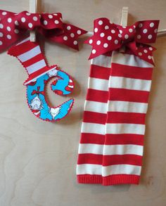 Cat In The Hat Legwarmer and Ir on On SET by alphabulous on Etsy, $12.00  https://www.etsy.com/listing/112622630/cat-in-the-hat-legwarmer-and-ir-on-on?ref=sr_gallery_13&ga_order=date_desc&ga_view_type=gallery&ga_page=26&ga_search_type=all