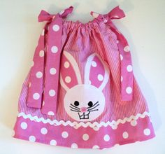 Baby Girl Easter  Pink Polka Dot Bunny by Janslittlehearts on Etsy, $19.95