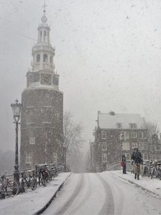 De Montelbaenstoren in de sneeuw I Amsterdam, Holland, Nostalgia, Icons, Paintings, World, Places, Water, Photos