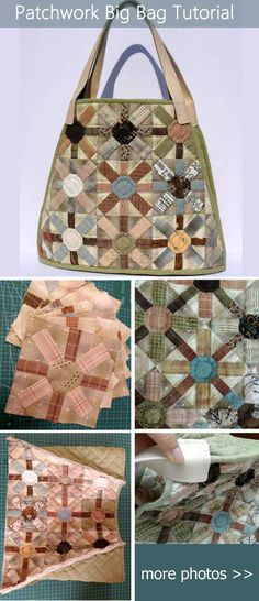 Patchwork Big Bag Tutorial. Learn how to make a tote bag for all types of travel with this tutorial.  http://www.handmadiya.com/2015/09/patchwork-big-bag-tutorial.html