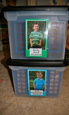 Organize school papers & keepsakes in bins with school picture laminated and used as a label.
