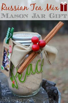 DIY Russian Tea Mason Jar with Photo Gift Tag