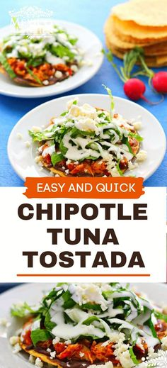 Scrumptious Mexican Chipotle Tuna Tostadas that are easy to make and can be enjoyed for lunch or dinner. It's rich, mellow flavor combines with the smokiness of the chipotle peppers to create a delightful tuna tinga. Real Mexican Food, Mexican Food Recipes, Ethnic Recipes, Seafood Recipes, Appetizer Recipes, Chicken Recipes, Kitchen Recipes, Cooking Recipes, Bariatric Eating