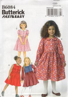 Free Us Ship Sewing Pattern Butterick 6084 High Waist Loose Fitting Modest dress Uncut Size Girls 2 3 4 5 by LanetzLiving on Etsy