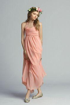 A Line Halter Chiffon Long Junior Bridesmaid Dress